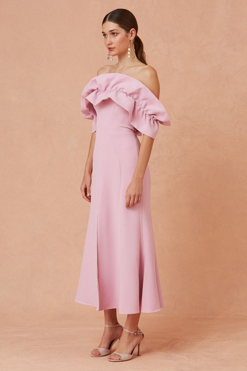 Pink Bridesmaid Dress With Ruffle Sleeves